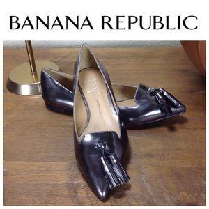 Banana Republic Silver Patent Leather Tassel Flats